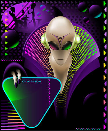 discjockey: party club invitation flyer with cool Alien discjokcey and eletric triangle sign