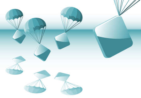 glossy signs on parachutes recently falling down for advertisement