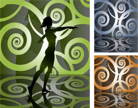 presentation stage with helical floral pattern mosaic for background in different colors Vector
