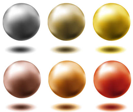 set of all metal balls of gold silver brass copper  Illustration