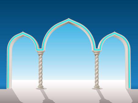 pilastri: arco di gesso orientale di mettere su uno sfondo di frame