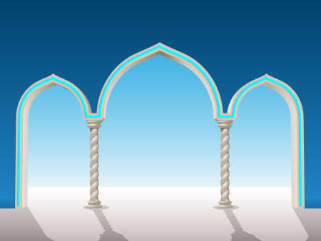 oriental gypsum archway to put on a background to frame Illustration