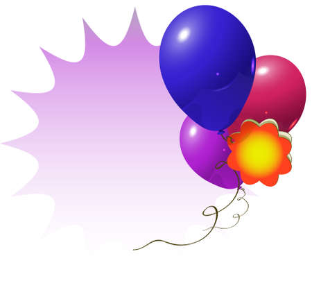 vector illustration for celebration or advertisement with some balloons and flower card
