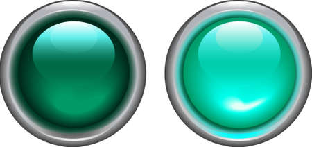 vector illustration off cyan on and off buttons - lights Illustration