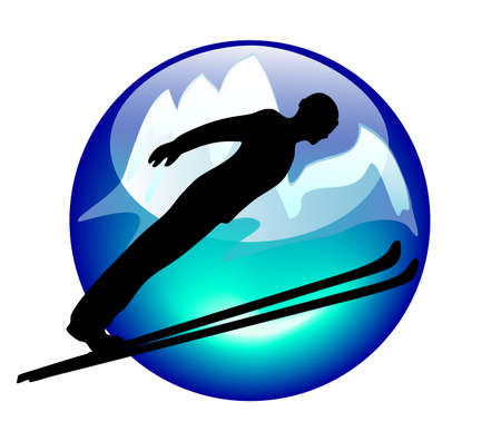 ski jump sign or button for web or print