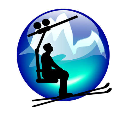 ski lift sign or button for web or print Illustration