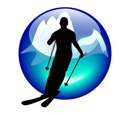 descent: ski and slalom sign or button for web or print