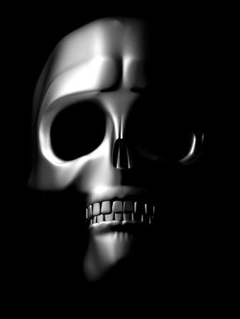 iron skull coming out of the dark
