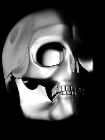 chrome skull model sign Stock Photo
