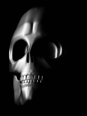 coated iron skull model in the dark