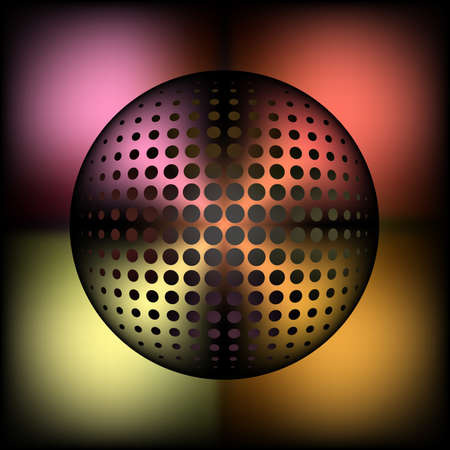 abstract halftone metallic sphere for entertainement or business background