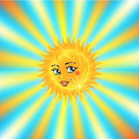 beautiful female sun face on shiny background