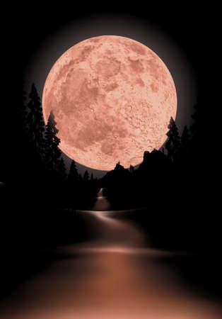 Glowing fullmoon achtergrond de maan is volledig rond om te gebruiken voor andere scènes Vector Illustratie