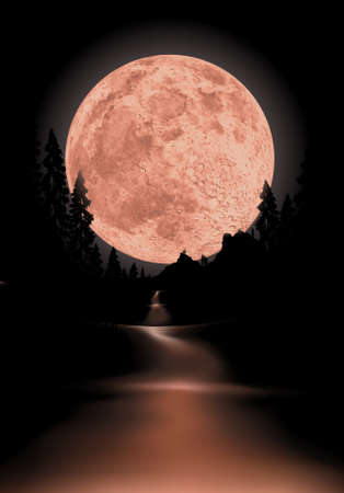 glowing fullmoon background the moon is completely round to use for other scenes Stock Vector - 5703375