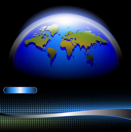 overdracht: 3D-wereld op een halftoon moderne achtergrond