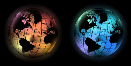 vector illustration off noble glowing world globe in the dark Illustration