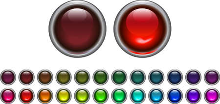 set of on and off light buttons Vector