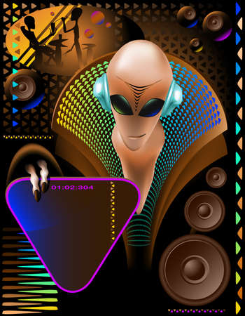 discjockey: party club invitation flyer with cool Alien disc-jockey and eletric triangle sign Illustration
