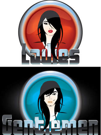 sexy young girl and boy rock-style for WC  men and women separator good on white or black background Vector