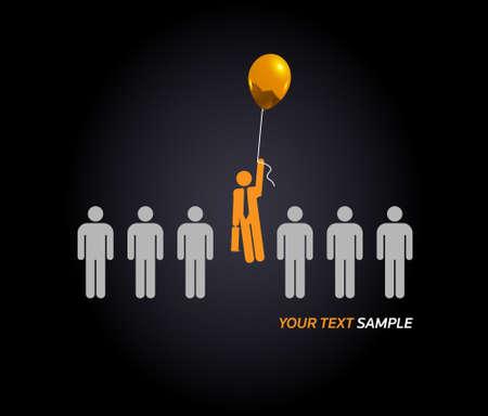 único - ilustración de concepto ganador, ser diferentes o ofreciendo servicios sensacionales... con éxito! Ilustración de vector