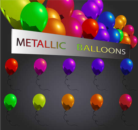 set of fresh reflective metallic balloons for everything