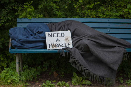 scourge: Homeless man on a park bench with a carboard sign Stock Photo