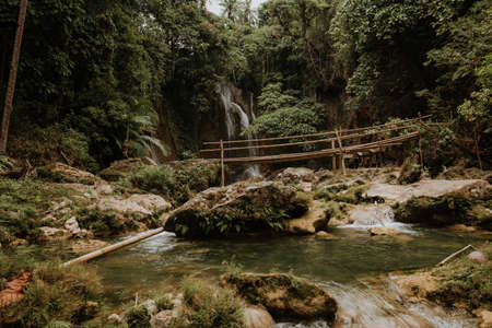 nature stamp with a beautiful waterfall on the island of bohol in the philippines Foto de archivo