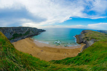 view of Antuerta Beach, Ajo village, Bareyo Municipality, Trasmiera Coast, Cantabrian Sea, Cantabria Autonomous Community, Spain, Europe