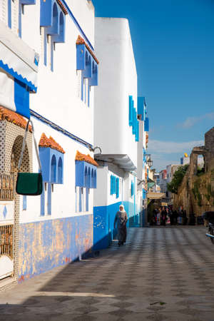Beautiful view of street with typical arabic architecture in Asilah. Location: Asilah, North Morocco, Africa. Artistic picture. Beauty world