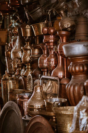 Decorative elements on the souk (market) in the old town, Medina in Morocco. Jug for brewing the tea.