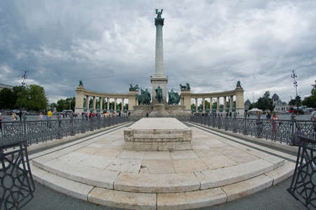 Millennium Monument on the Heroes' Square (Hosok Tere) is one of the major squares in Budapest, Hungary.
