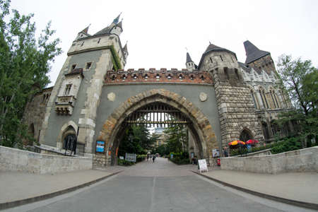 Gate of the Vajdahunyad Castle, castle in Budapest, Hungary Editorial