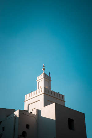 Middle east or Moroccan architecture traditional design. blue sky Editorial