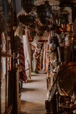 Moroccan carpets on market, Morocco, Casablanca.The Medina - traditional Arab shopping center
