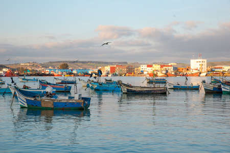 Fishermen boats in the harbour of Assilah, Morocco Editorial