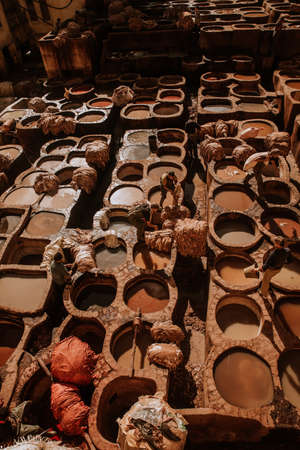 Tanneries of Fes, Morocco, AfricaOld tanks of the Fez's tanneries with color paint for leather, Morocco, Africa
