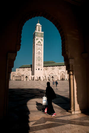 Panoramic view at the Mosque of Hasan II. in Casablanca. Casablanca is the largest city in Morocco.