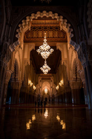 The interior of the II. Hassan Mosque as on October 30, 2008 in Casablanca, Morocco. This is the largest mosque in Africa, and the only opened for tourists.