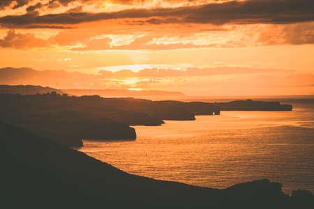 Sunset at Torimbia beach in Llanes Asturias