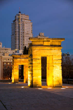 Madrid Templo de Debod ancient Egyptian temple in the sky on Madrid spring, Spain