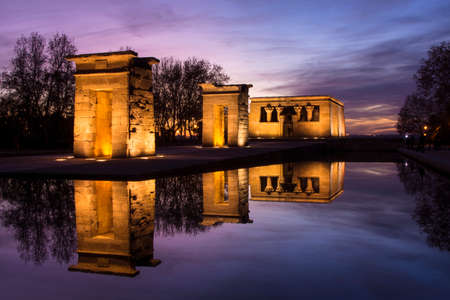 Sunset over the Templo de debod. The Temple of Debod is an ancient Egyptian temple which was rebuilt in Madrid, Spain.