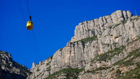 Approaching the cliffs at the Barcelona Montserrat Stock Photo