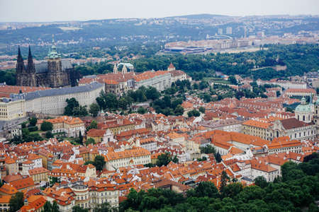 Aerial view of Prague with the Prague Castle in the background
