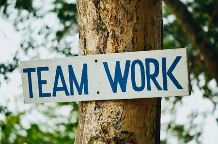 clavados: A handmade teamwork sign in blue paint on a white sign. The sign is nailed to a tree.