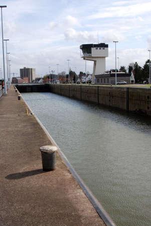 lift lock: Lock on the Albert canal located in Wijnegem, near Antwerp