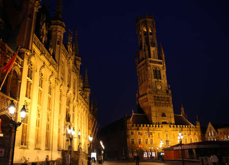 The Bell Tower of Bruges at night.