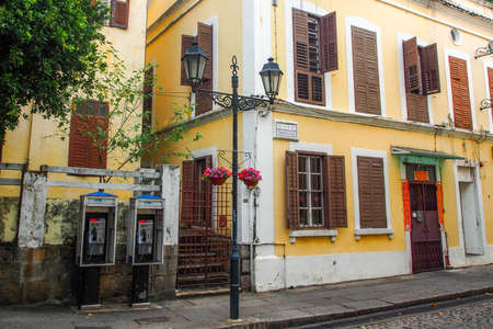 colonial house: Portuguese colonial house and street lamp in Macau