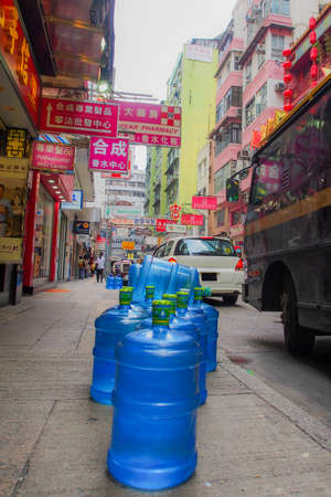 foot path: Water Delivery on the foot path in Hong Kong