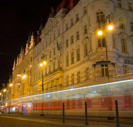 praga: Night shot of Prague Streets.