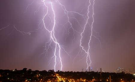 thundershower: Lightning strikes over Melbourne city skyline